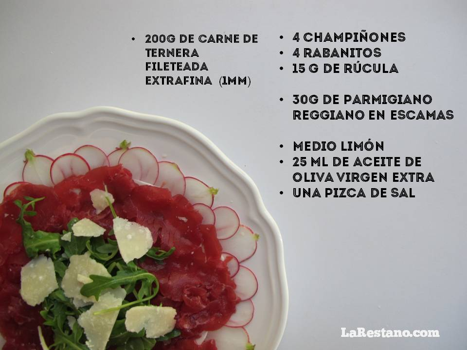 Ingredientes receta carpaccio ternera_LaRestano